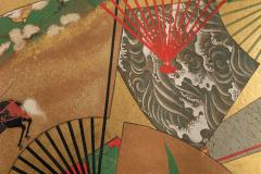 Japanese Two Panel Screen Rimpa Painting of Fans on Gold Leaf - 1825011