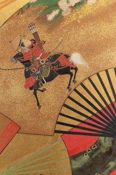 Japanese Two Panel Screen Rimpa Painting of Fans on Gold Leaf - 1825038