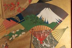 Japanese Two Panel Screen Rimpa Painting of Fans on Gold Leaf - 1825040