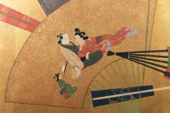 Japanese Two Panel Screen Rimpa Painting of Fans on Gold Leaf - 1825041