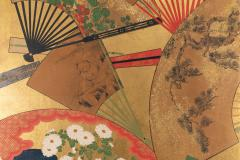 Japanese Two Panel Screen Rimpa Painting of Fans on Gold Leaf - 1825044