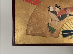Japanese Two Panel Screen Rimpa Painting of Fans on Gold Leaf - 1825050