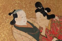 Japanese Two Panel Screen Rimpa Painting of Fans on Gold Leaf - 1825051