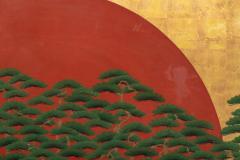 Japanese Two Panel Screen Rising Sun Through the Pine - 1004805