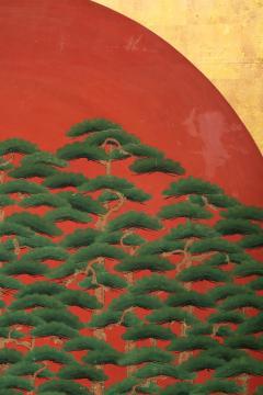 Japanese Two Panel Screen Rising Sun Through the Pine - 1004806