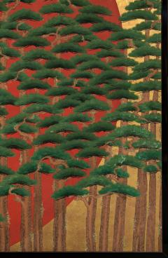 Japanese Two Panel Screen Rising Sun Through the Pine - 1004808
