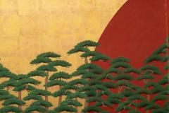 Japanese Two Panel Screen Rising Sun Through the Pine - 1004809