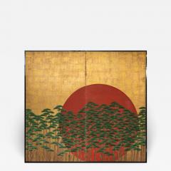 Japanese Two Panel Screen Rising Sun Through the Pine - 1005447