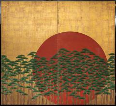 Japanese Two Panel Screen Rising Sun Through the Pine - 1005448