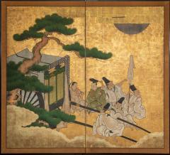 Japanese Two Panel Screen Shoguns Journey to Edo - 756984