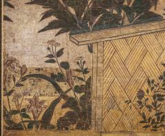 Japanese Two Panel Screen Summer Flowers in a Garden Setting - 1368607