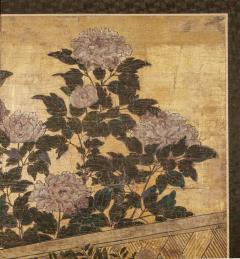 Japanese Two Panel Screen Summer Flowers in a Garden Setting - 1368609