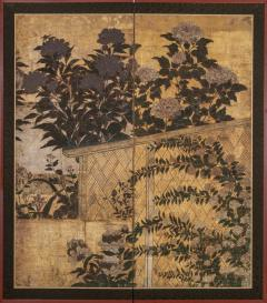 Japanese Two Panel Screen Summer Flowers in a Garden Setting - 1368610
