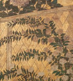 Japanese Two Panel Screen Summer Flowers in a Garden Setting - 1368614