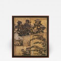 Japanese Two Panel Screen Summer Flowers in a Garden Setting - 1368772