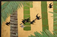 Japanese Two Panel Screen Swallows in Tropical Landscape - 714867