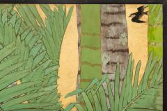 Japanese Two Panel Screen Swallows in Tropical Landscape - 714868