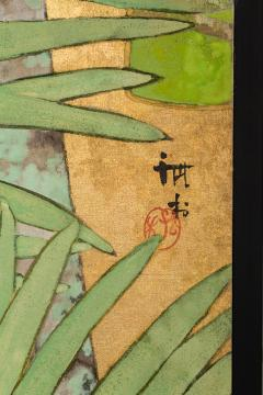Japanese Two Panel Screen Swallows in Tropical Landscape - 714873