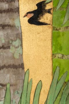 Japanese Two Panel Screen Swallows in Tropical Landscape - 714874