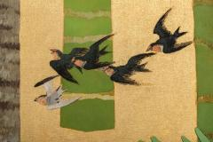 Japanese Two Panel Screen Swallows in Tropical Landscape - 714876