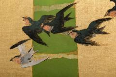 Japanese Two Panel Screen Swallows in Tropical Landscape - 714877