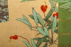 Japanese Two Panel Screen Swallows in Tropical Landscape - 714879