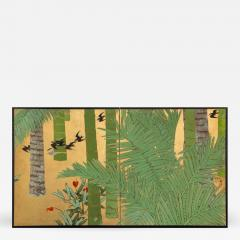 Japanese Two Panel Screen Swallows in Tropical Landscape - 715173