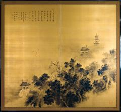 Japanese Two Panel Screen Temples Through Misty Forest - 1981332