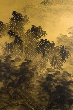 Japanese Two Panel Screen Temples Through Misty Forest - 1981513