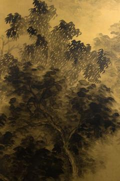Japanese Two Panel Screen Temples Through Misty Forest - 1981519