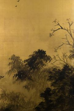 Japanese Two Panel Screen Temples Through Misty Forest - 1981523