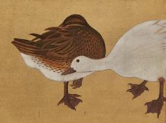 Japanese Two Panel Screen Water Fowl by River s Edge - 1981489