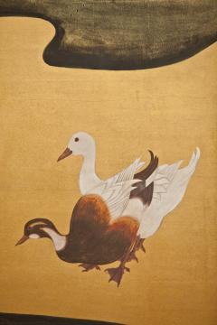 Japanese Two Panel Screen Water Fowl by River s Edge - 1981515