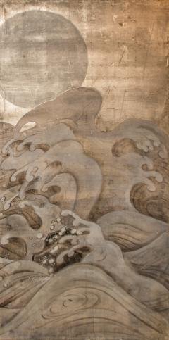 Japanese Two Panel Screen Waves and Moon on Silver - 1762402