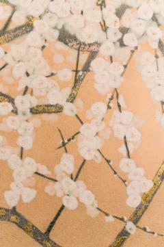 Japanese Two Panel Screen White Plum Rare Obara Paper Art Screen - 1905796