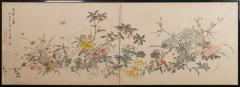 Japanese Two Panel Screen Wild Flowers - 1950257