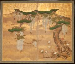 Japanese Two Panel Screen Wisteria and Pine - 1303871