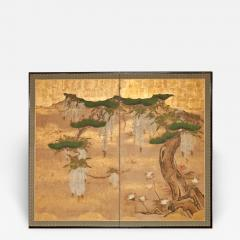 Japanese Two Panel Screen Wisteria and Pine - 1304011