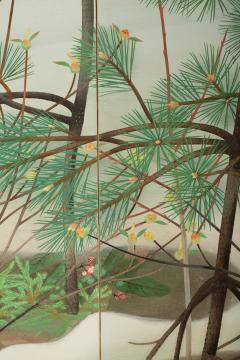 Japanese Two Panel Screen Young Pine in Snow - 823166