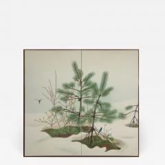 Japanese Two Panel Screen Young Pine in Snow - 824130