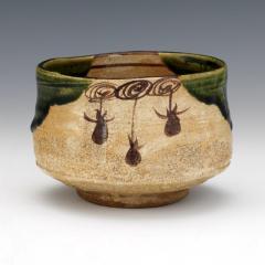 Japanese ceramic Oribe tea bowl chawan - 1381216