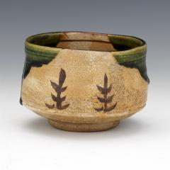 Japanese ceramic Oribe tea bowl chawan - 1381219