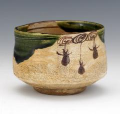 Japanese ceramic Oribe tea bowl chawan - 1381225