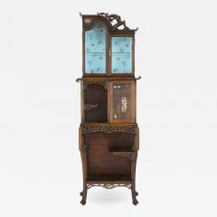Japonisme mother of pearl inlaid hardwood display cabinet after Viardot - 1446462