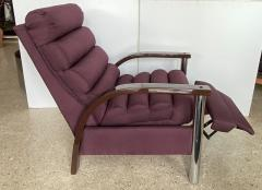Jay Spectre American Modern Dark Oak and Chrome Eclipse Recliner Chair Jay Spectre - 1851400