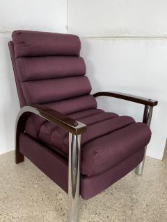 Jay Spectre American Modern Dark Oak and Chrome Eclipse Recliner Chair Jay Spectre - 1851403