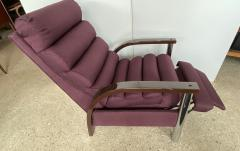 Jay Spectre American Modern Dark Oak and Chrome Eclipse Recliner Chair Jay Spectre - 1851406