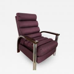 Jay Spectre American Modern Dark Oak and Chrome Eclipse Recliner Chair Jay Spectre - 1912097