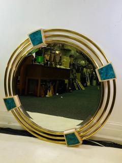 Jay Spectre MONUMENTAL MODERN TRIPLE BRASS RING MIRROR WITH LAPIS LAZULI ENAMEL MIRROR - 1439687
