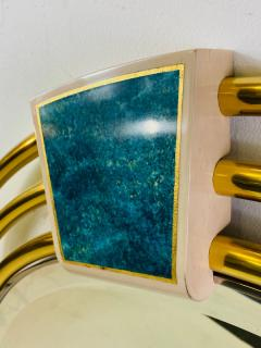 Jay Spectre MONUMENTAL MODERN TRIPLE BRASS RING MIRROR WITH LAPIS LAZULI ENAMEL MIRROR - 1439690